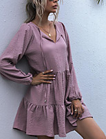 cheap -Women's Swing Dress Knee Length Dress - Long Sleeve Solid Color Spring Fall Casual Loose 2020 Black Purple S M L XL