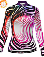 cheap -21Grams Women's Long Sleeve Cycling Jersey Winter Fleece Polyester Red Bike Jersey Top Mountain Bike MTB Road Bike Cycling Fleece Lining Breathable Warm Sports Clothing Apparel / Stretchy / Quick Dry