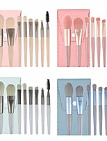 cheap -new 8pcs mini makeup brushes set matte wooden handle portable soft hair 4 colors available (beige)