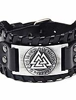 cheap -viking bracelet norse valknut runes leather braided bracelet vintage amulet jewellery for men women (black)