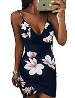 cheap -womens spaghetti strap open back floral print bodycon dress blue s