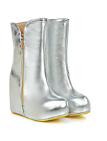 cheap -Women's Boots Wedge Heel Round Toe Casual Daily Walking Shoes PU Gold Silver / Mid-Calf Boots