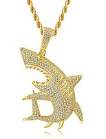 """cheap -hip hop shark necklace, long chain punk rock choker, iced out shark jewelry, premium silver gold cubic zirconia shark pendant with 24"""" rope/box chain"""