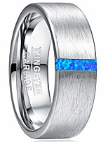 cheap -men's tungsten rings 8mm blue opal wedding bands brushed finish comfort fit size 7