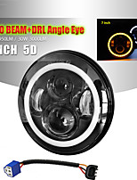 cheap -2 Pcs 7 Inch Halo Ring Amber Angel Eye LED Headlights Hi/Low Beam Round Headlamp DRL For Lada 4x4 Urban Niva Motorcycle Off-Road 4x4 Vehicles Headlamp