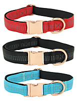 cheap -Dog Collar Adjustable Breathable Retractable Outdoor Walking Solid Colored PU Leather Corgi Shiba Inu Pug Bichon Frise Schnauzer Poodle Black Red Blue Gray 1pc