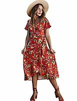 cheap -women's floral print wrap bohemian midi summer vintage dress red s