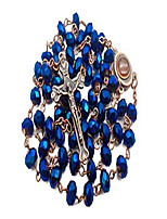 cheap -deep blue crystal beads rosary necklace catholic prayer jerusalem holy soil medal cross holy land antique religious rosaries beads collection