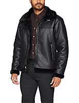 cheap -men's faux shearling jacket, black, medium