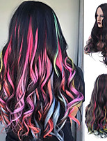 cheap -Synthetic Wig Body Wave Bouncy Curl Middle Part Wig Long Rainbow Synthetic Hair Women's Soft Highlighted / Balayage Hair Fluffy Mixed Color