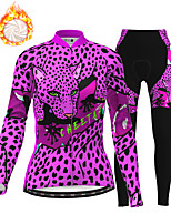 cheap -21Grams Women's Long Sleeve Cycling Jersey with Tights Winter Fleece Polyester Black / Yellow Purple Blue Leopard Camo / Camouflage Animal Bike Clothing Suit Fleece Lining Breathable 3D Pad Warm