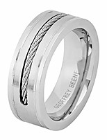 cheap -men's comfort fit cable wire inlay stainless steel ring wedding band, silver