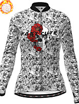 cheap -21Grams Women's Long Sleeve Cycling Jersey Winter Fleece Polyester Black / White Skull Floral Botanical Christmas Bike Jersey Top Mountain Bike MTB Road Bike Cycling Fleece Lining Warm Quick Dry