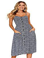 cheap -women's sexy spaghetti strap v-neck floral print casual maxi dress beach wear dark blue-l