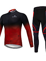 cheap -Men's Long Sleeve Cycling Jersey with Tights Winter Elastane Polyester Black / Red Bike Clothing Suit Breathable 3D Pad Quick Dry Reflective Strips Sweat-wicking Sports Graphic Clothing Apparel