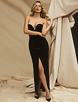 cheap -Women's Sheath Dress Maxi long Dress - Sleeveless Solid Color Split Summer V Neck Sexy Party Velvet Slim 2020 Black S M L