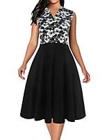 cheap -Women's A-Line Dress Knee Length Dress - Sleeveless Floral Print Summer V Neck Elegant Party Slim 2020 White Black Red S M L XL XXL