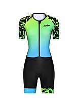 cheap -Men's Women's Short Sleeve Triathlon Tri Suit Polyester Green Gradient Bike Clothing Suit Breathable 3D Pad Quick Dry Reflective Strips Sweat-wicking Sports Graphic Mountain Bike MTB Road Bike Cycling