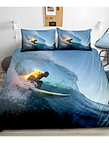 cheap -Sports Series Surfing Print 3-Piece Duvet Cover Set Hotel Bedding Sets Comforter Cover with Soft Lightweight Microfiber(Include 1 Duvet Cover and 1or 2 Pillowcases)