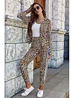 cheap -Women's Basic Leopard Striped Daily Two Piece Set Sweatshirt Pant Patchwork Zipper Tops
