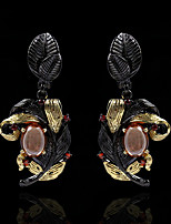 cheap -Women's AAA Cubic Zirconia Stud Earrings Drop Earrings Monogram Petal Elegant European Gypsy Earrings Jewelry Black For Party Evening Gift Date 1 Pair