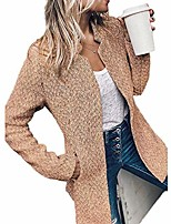 cheap -women's elegant notch collar woolen coat, casual pea cardigan raglan short coat (khaki,large)
