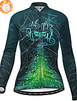 cheap -21Grams Women's Long Sleeve Cycling Jersey Winter Fleece Polyester Red Blue Green Christmas Santa Claus Bike Jersey Top Mountain Bike MTB Road Bike Cycling Fleece Lining Warm Quick Dry Sports