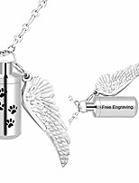 cheap -urn ashes cylinder pendant with angel wing charm necklaces pendant cremation jewelry engraving