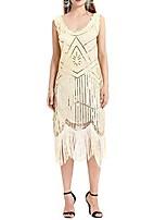 cheap -women vintage 1920s bead fringe sequin lace party flapper cocktail prom dress beige