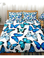 cheap -Blue Butterfly Print 3-Piece Duvet Cover Set Hotel Bedding Sets Comforter Cover with Soft Lightweight Microfiber For Room Decoration(Include 1 Duvet Cover and 1or 2 Pillowcases)