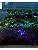 cheap -Skull Series 3-Piece Duvet Cover Set Hotel Bedding Sets Comforter Cover with Soft Lightweight Microfiber, Include 1 Duvet Cover, 2 Pillowcases for Double/Queen/King(1 Pillowcase for Twin/Single)