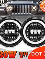 cheap -2 Pcs 7 Inch LED Headlight 180W High Low Beam Dot E9 LED DRL Halo Ring Amber Turn Signal Headlamp For Lada 4x4 Niva Urban