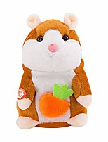 cheap -talking hamster mouse toy, repeats what you say electronic pet talking plush toy cheeky hamster christmas toy speak sound record hamster gift (light brown, 16cm)