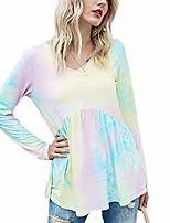 cheap -women's tie dye printed long sleeve t shirt v neck casual baby-doll loose pullover tops shirts (pink, medium)