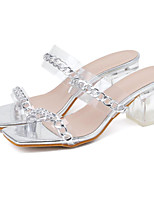 cheap -Women's Sandals Chunky Heel Square Toe Casual Daily Walking Shoes PU Solid Colored Black Silver