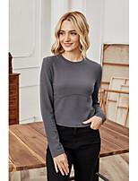 cheap -Women's T-shirt Plain Long Sleeve Round Neck Tops Basic Basic Top Gray