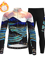 cheap -21Grams Men's Long Sleeve Cycling Jersey with Tights Winter Fleece Polyester Dark Navy 3D Bike Clothing Suit Thermal Warm Fleece Lining Breathable 3D Pad Warm Sports Graphic Mountain Bike MTB Road
