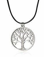 cheap -hollow tree of life leather necklacevintage silver family tree pendant necklace.fashion jewelry for women and girls (silver)