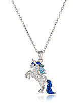 """cheap -silver plated crystal blue unicorn pendant necklace, 18"""""""
