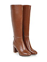 cheap -Women's Boots Block Heel Square Toe Mid Calf Boots Casual Daily PU Solid Colored Black Brown Beige / Mid-Calf Boots