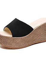 cheap -Women's Sandals Wedge Heel Peep Toe Casual Daily Nubuck Solid Colored Black Pink Green