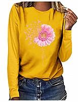 cheap -womens pink ribbon daisy flower breast cancer t-shirt long sleeve tshirts inspirational shirts plus size.s-3xl