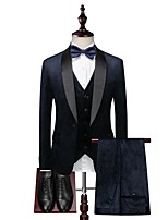 cheap -Tuxedos Standard Fit Shawl Collar Single Breasted One-button Cotton Blend / Polyester Grid / Plaid