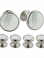 cheap -mother of pearl and brass stud set silver one size