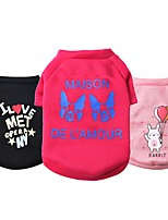 cheap -Dog Cat Shirt / T-Shirt Vest Print Cartoon Adorable Cute Casual / Daily Dog Clothes Puppy Clothes Dog Outfits Breathable Black / White Black Red Costume for Girl and Boy Dog Cotton S M L XL XXL