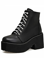 cheap -Women's Boots Chunky Heel Round Toe Booties Ankle Boots Punk & Gothic British Daily Walking Shoes Leather Lace-up Solid Colored Black / Mid-Calf Boots