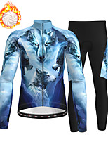 cheap -21Grams Men's Long Sleeve Cycling Jersey with Tights Winter Fleece Polyester Blue Animal Bike Clothing Suit Fleece Lining Breathable 3D Pad Warm Quick Dry Sports Graphic Mountain Bike MTB Road Bike