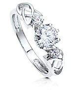 cheap -rhodium plated sterling silver round cubic zirconia cz 3-stone celtic knot promise engagement ring 0.96 ctw size 6.5