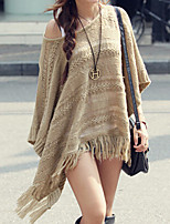 cheap -Women's Knitted Solid Color Pullover Poncho Sweater Long Sleeve Sweater Cardigans Crew Neck Fall Winter Khaki
