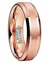cheap -6mm rose gold tungsten carbide rings for men women wedding bands matte finish polished beveled edges comfort fit